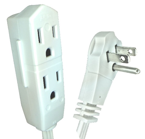 CW43577 9 FT White Low Profile Triple Extension Cord