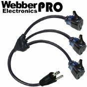 CW43719 Webber Triton-Lock 2.5FT Extn Cable NEMA 5-15P PLUG TO TRITON Triple Locking Receptacles