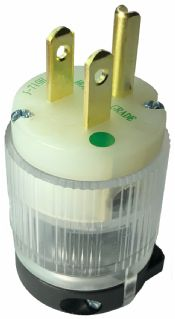 Hospital Grade CLEAR NEMA 5-15P Green Dot Replacement Plug - Easy Assembly - Durable Nylon